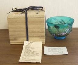 黒木 国昭氏 手吹きガラス 茶碗の買取でした。